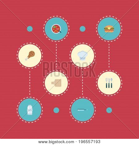 Flat Icons Skillet, Breadboard, Silverware And Other Vector Elements