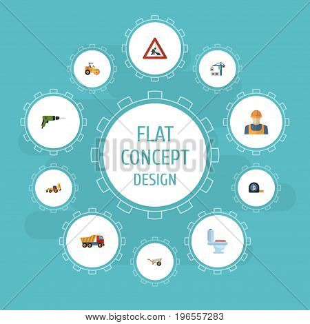 Flat Icons Electric Screwdriver, Restroom, Van And Other Vector Elements