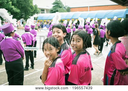 Trang Thailand - June 23 2017 : Student girls and orchestra enjoy activity on sports day at public ground in Trang Thailand