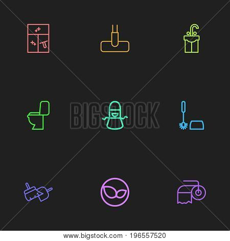 Set Of 9 Editable Cleanup Outline Icons. Includes Symbols Such As Kitchen Clothing, Sweeping Tools, Toilet Brush And More