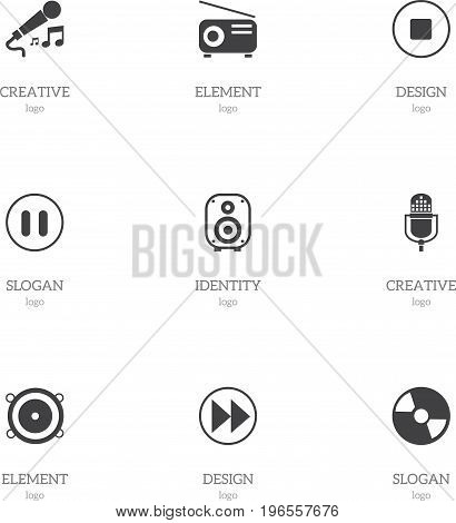 Set Of 9 Editable Sound Icons. Includes Symbols Such As Microphone, Media Fm, Rewind And More