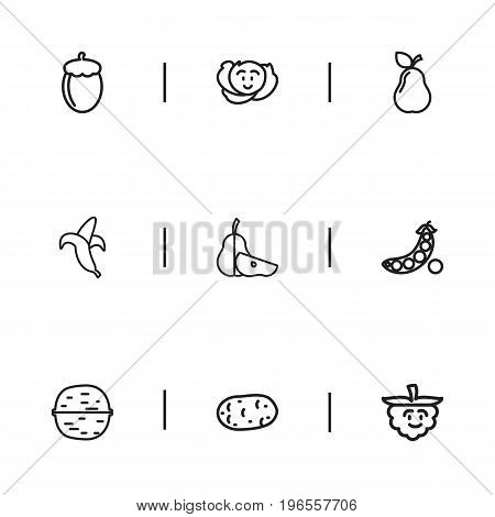Set Of 9 Editable Cookware Outline Icons. Includes Symbols Such As Amusing Raspberry, Pear, Peas And More