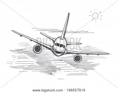 Airplane flying clouds from the sun. Graphic linear tonal drawing by slate pencil. Sepia toned paper. Isolated on white background