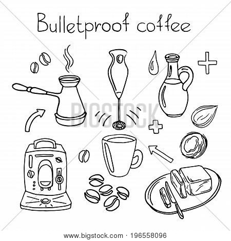 Doodle sketch. Recipe Bulletproof coffee. Set. Coffee machine, blender, butter, coconut oil, coffee beans, arrow, cup, knife. Vector illustration isolated on white background eps.10