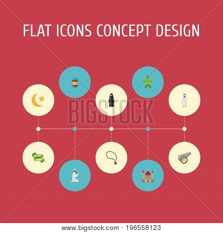 Flat Icons Islamic Lamp, Ramadan Kareem, Praying Man And Other Vector Elements