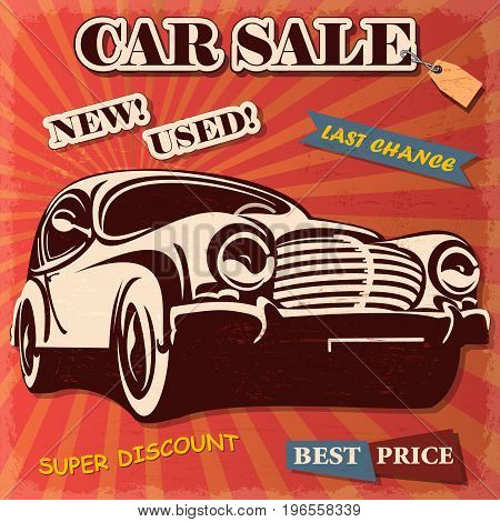 The car sale retro poster best price