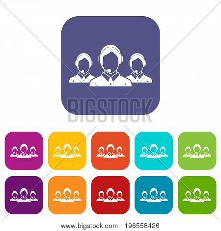 Customer support operators icons set vector illustration in flat style in colors red, blue, green, and other