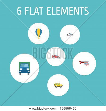 Flat Icons Airship, Bicycle, Chopper And Other Vector Elements