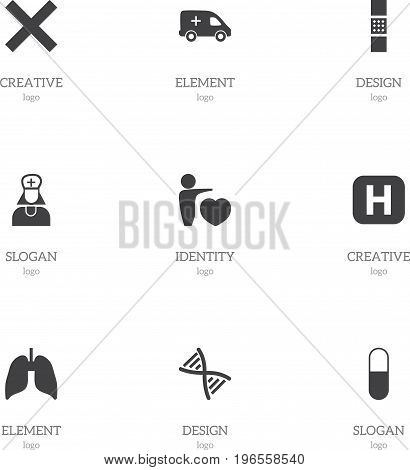 Set Of 9 Editable Clinic Icons. Includes Symbols Such As Genome, No Check, Wound Band