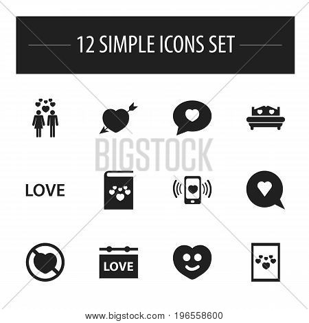 Set Of 12 Editable Passion Icons. Includes Symbols Such As Mattress, Textbook, Passion And More