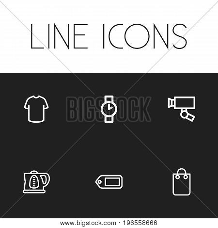 Set Of 6 Editable Shopping Outline Icons. Includes Symbols Such As Surveillance , T-Shirt, Handbag