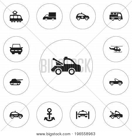 Set Of 12 Editable Transportation Icons. Includes Symbols Such As Streetcar, Sheriff, Weapon And More
