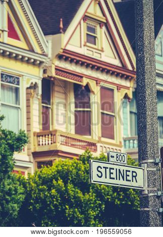 Detail Of Colourful Victorian Houses On Steiner Street In San Francisco