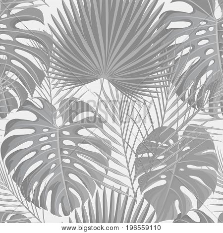 Seamless pattern with gray white grayscale colored tropical exotic palm leaves background. Fabric, wrapping paper print. Vector illustration stock vector.