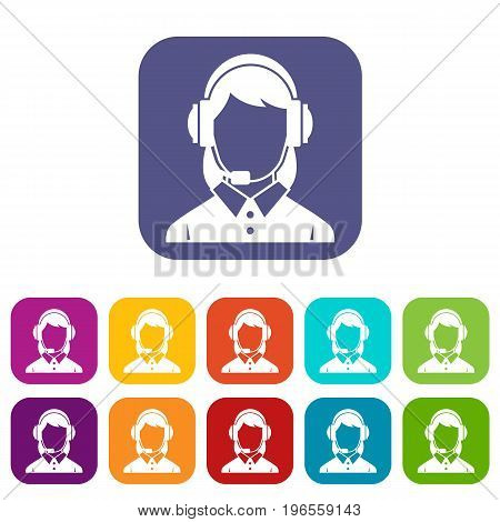 Business woman with headset icons set vector illustration in flat style in colors red, blue, green, and other