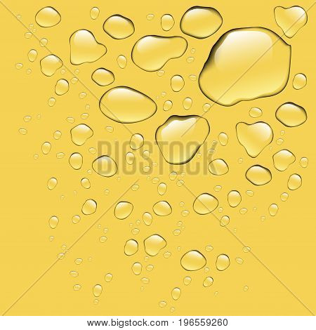 Realistic pure water drops realistic set isolated. Water drops with yellow background. Clean drop condensation. Vector illustration stock vector.