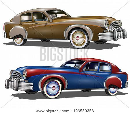The isolated retro cars on a white background