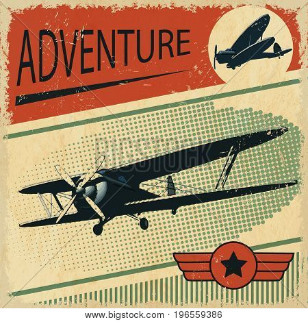 The biplane with a star retro poster