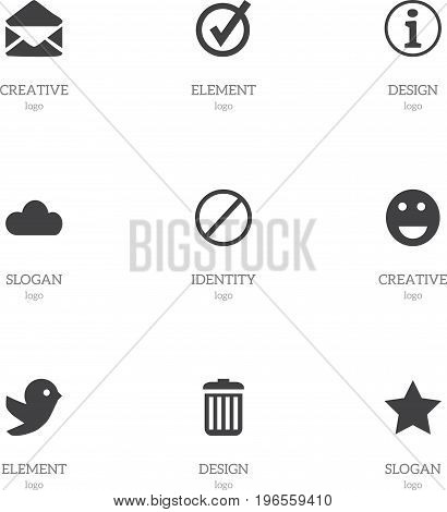 Set Of 9 Editable Internet Icons. Includes Symbols Such As Sky, Deny, Emoji And More
