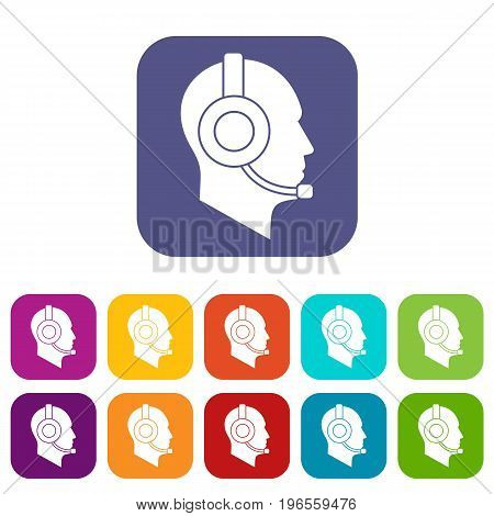 Operator in headset icons set vector illustration in flat style in colors red, blue, green, and other