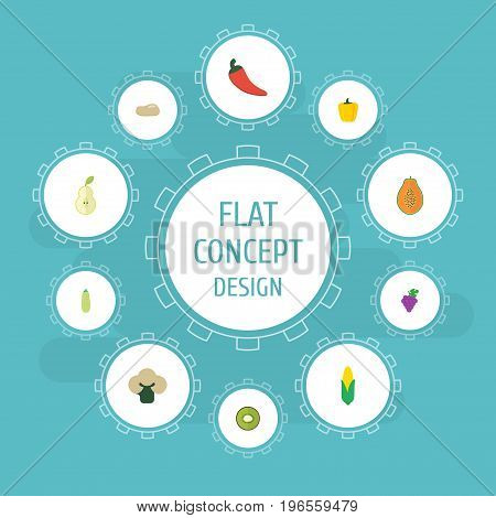 Flat Icons Pawpaw, Maize, Cluster And Other Vector Elements