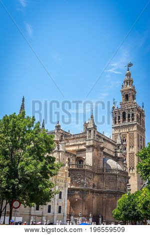 The Giralda Bell Tower With The Cathedral In Seville, Spain, Europe