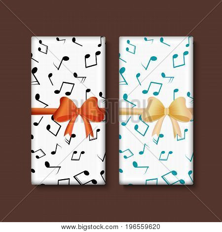 Set of chocolate bar package designs with musical notes and decorate bow. Editable packaging template collection.