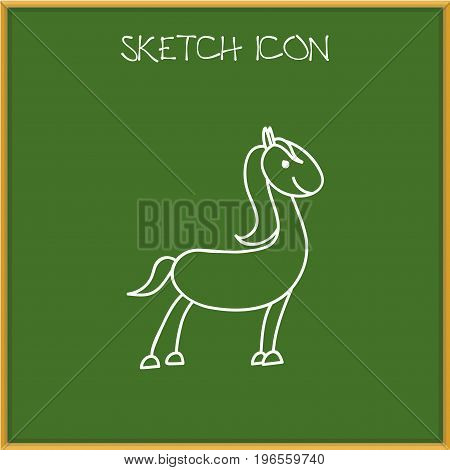 Vector Illustration Of Zoo Symbol On Horse Doodle