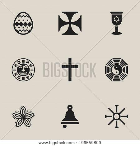 Set Of 9 Editable Faith Icons. Includes Symbols Such As Indian Flower, Crucifix, Taoism And More