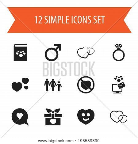 Set Of 12 Editable Amour Icons. Includes Symbols Such As Romance, Present, Like And More