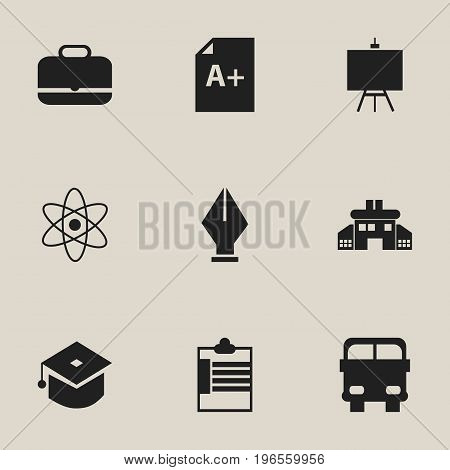 Set Of 9 Editable Knowledge Icons. Includes Symbols Such As Kindergarten, Supervision List, Nib And More