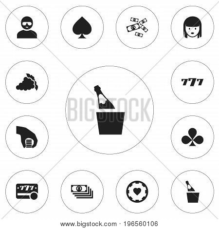 Set Of 12 Editable Business Icons. Includes Symbols Such As Lucky Seven, Raffle, Female Face And More