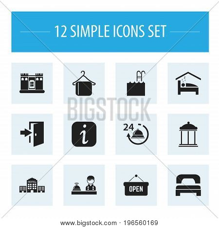 Set Of 12 Editable Motel Icons. Includes Symbols Such As Opened Placard, Fortress, Sleeping And More