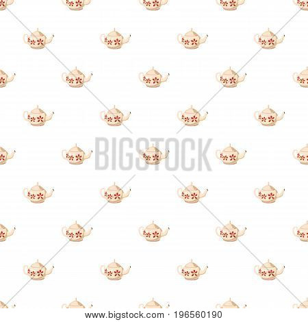 White teapot with red flowers pattern seamless repeat in cartoon style vector illustration