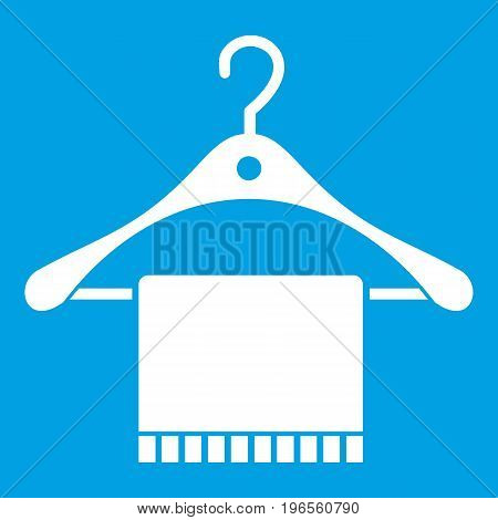 Scarf on coat hanger icon white isolated on blue background vector illustration