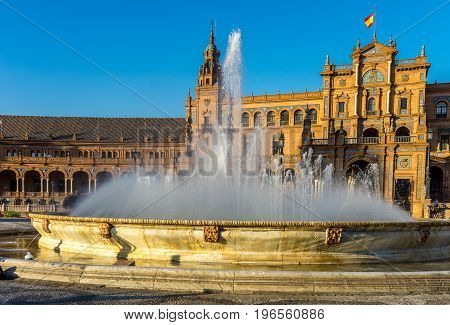 Water Fountain At Plaza De Espana In Seville, Spain, Europe
