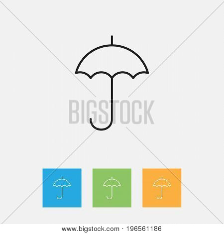 Vector Illustration Of Climate Symbol On Umbrella Outline