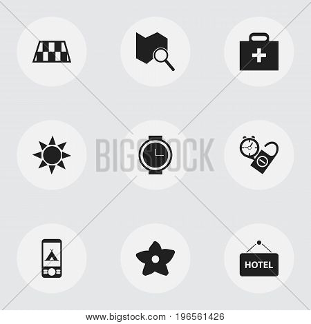 Set Of 9 Editable Travel Icons. Includes Symbols Such As Position Search, Welcome Board, Barrier And More