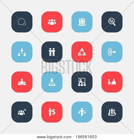 Set Of 16 Editable Team Icons. Includes Symbols Such As Goal, Human Resouces, Publicity And More