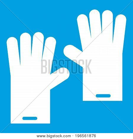 Rubber gloves icon white isolated on blue background vector illustration