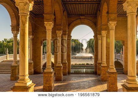 Corridors And Pillars In Plaza De Espana In Seville, Spain, Europe