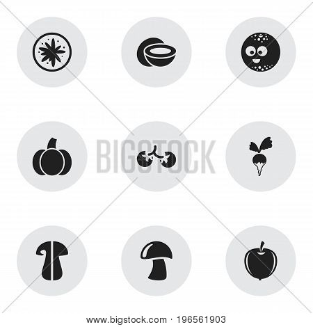 Set Of 9 Editable Cookware Icons. Includes Symbols Such As Cep, Smiling Ball, Plum And More
