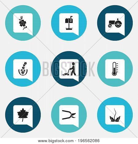 Set Of 9 Editable Gardening Icons. Includes Symbols Such As Mailbox, Lilac, Grass Cutting Machine And More