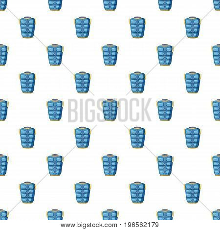 Blue warm vest pattern seamless repeat in cartoon style vector illustration