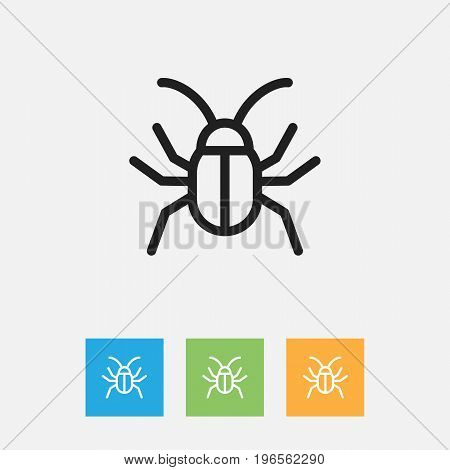 Vector Illustration Of Zoology Symbol On Cockroach Outline