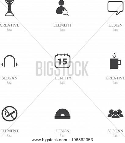 Set Of 9 Editable Office Icons. Includes Symbols Such As Message Bubble, Search, Mug And More