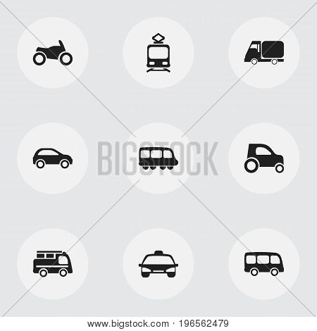 Set Of 9 Editable Shipment Icons. Includes Symbols Such As Lorry, Motorbus, Tramcar And More