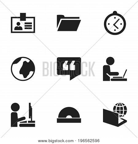 Set Of 9 Editable Bureau Icons. Includes Symbols Such As Earth, Globe, Work At The Computer And More