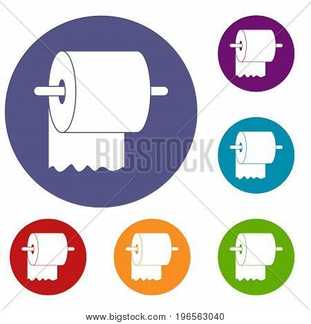 Roll of toilet paper on holder icons set in flat circle red, blue and green color for web