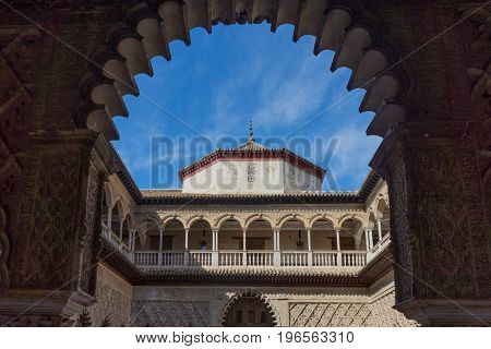 Moorish Dome Through In The Pointed Arch In Seville, Spain, Europe